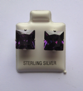 9mm square Princess cut Amethyst Cubic Zirconia Sterling silver Stud earrings